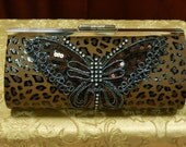Copper Embroidered Butterfly Hand Painted Clutch