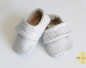 MILES Baby Boy Shoe. Soft Flannel Gray