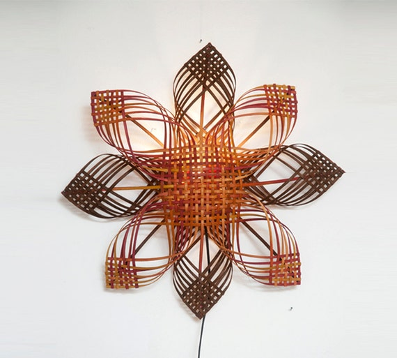 Woven Leaves Wall Decor : Woven lampshade shining star wall d?cor lighting warm