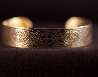 Celtic Art Cuff Etched in Brass from the Abercorn Church, Linlithgow. Handmade in Scotland.