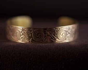 Celtic Art Cuff. Spiral Design, Etched in Brass from the Book of Kells, Handmade in Scotland.