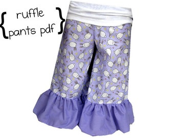 Boutique Ruffle Pants Sewing pattern for Baby and Girl newborn through 12 girls