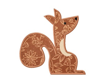 INSTANT DOWNLOAD Double Pack Forest Squirrel Machine Embroidery Design Includes BOTH Applique and Filled Stitch