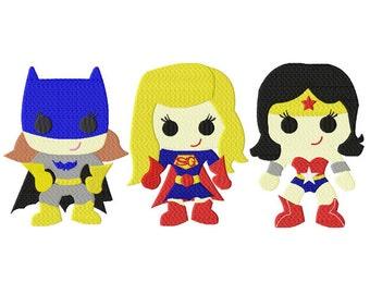 INSTANT DOWNLOAD Superhero Girlie Team Mega Three Pack Includes Bat Girlie Super Girlie and Wonder Girlie Machine Embroidery Designs