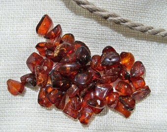 Baltic Amber Beads. Polished. Freeform. 50 pcs. Cognac color. Drilled.