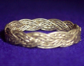"Vintage Silver India Fashion Braided Ring 1/8"" Wide #144"