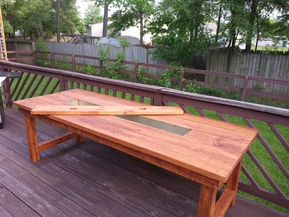 Wood dining patio table w built in cooler by bgwoodworks Picnic table with cooler plans