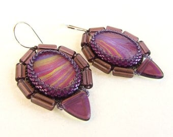 Purple, Yellow, and Fuchsia Marblized Glass Cabochon Earrings