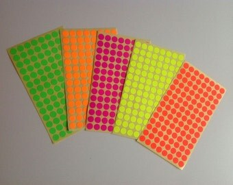 5 sheets of dots fluorescent stickers-Decoration packages, scrapbooking, embellishments.