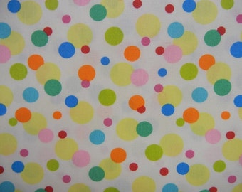 Cotton Fabric Covered with Bright Polka Dots