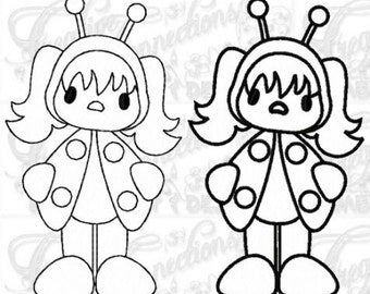 Lady Bug Girl Machine Embroidery Design