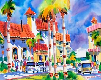 Venice Beach Florida Tropical Watercolor Print 5 x 7, 8 x 10, 11 x 14 Ellen Negley, Beach Art, Tropical Art, Beach Painting, Palm Tree
