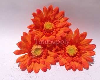 Orange Daisy Flower, orange flower, small orange flower, flower for headband, infant headband, baby headband, girls headband