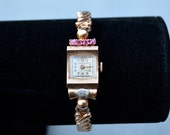 Rose Gold Art Deco Vintage Longeau Watch With Rubies and Genuine Diamond