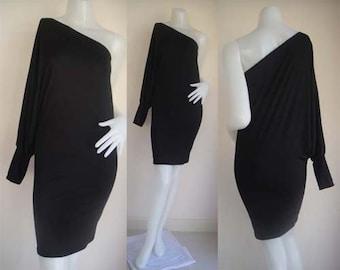 Black one shoulder Short evening dress elegance all size
