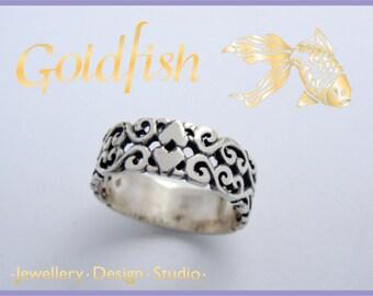 Sterling Silver filligree Heart ring