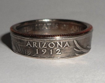 ARIZONA  us quarter  coin ring size  or pendant