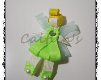 Fairies (Tinkerbell) Ribbon Sculpture Alligator Hairclip (Tinkerbell/ Children/ Girls/ Handmade Accessories)