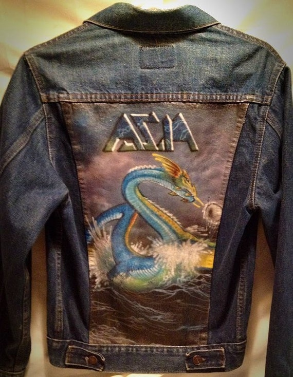 Items Similar To Hand Painted Asia Denim Jacket 80s On Etsy