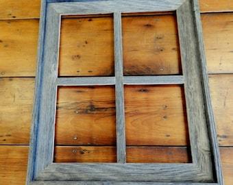 Narrow Western Large 4- Pane Barnwood Window MIRROR
