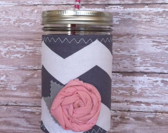 Mason Jar  Grey Chevron Insulated Sleeve with Pink Rosette BPA Free Straw - Travel Mug Great Gift
