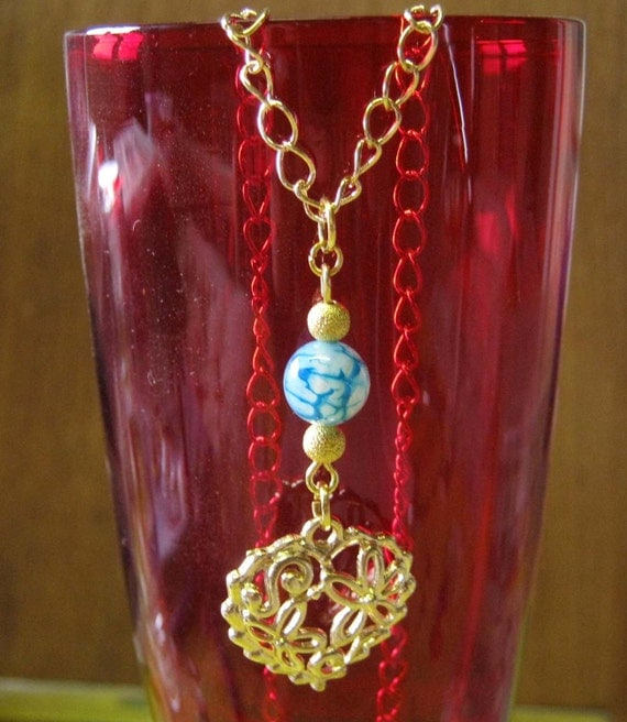 Handmade Gold Necklace with Heart and Blue Vein Agate by IreneDesign2011