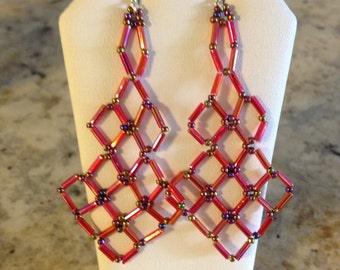 Red Bugle Japanese Bead Earrings
