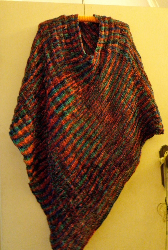 Items similar to Cowl Necked Poncho Knitting Pattern ...