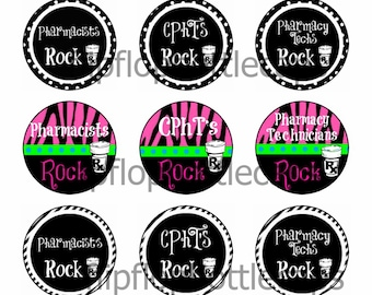 FFB120 TANT DOWNLOAD Pharmacy Rocks Bottle cap image collage Cpht pharmacy tech pharmacist
