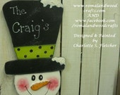 Whimsical Hand Painted Wooden Mr. Big Hat Snowman Hanging Sign OFG FAAP Gift Personalized Winter Decoration