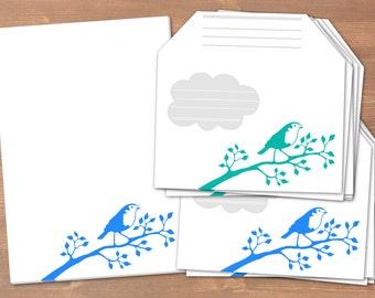 Robin blue/petrol - handmade stationery // recycling paper // 10 envelopes & notepad