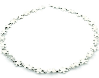 Sterling Silver Chain Jigsaw Piece Necklace