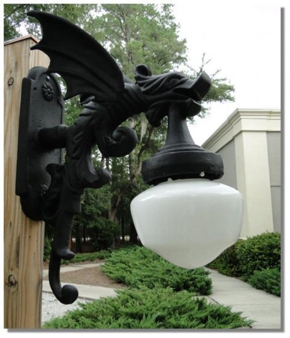 Victorian Replica Gargoyle Outdoor Light Fixture With Wings