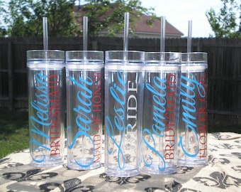 Set of 8-- Personalized Bride, Maid of Honor, Matron of Honor, Bridesmaid, and Flower Girl Acrylic Tumblers, Bridal Party Tumbler Gifts