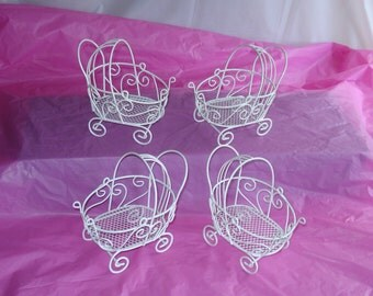 4 Vintage Mini Wire Baby Carriages - (Set of 4) - Great for Baby Shower Decorations