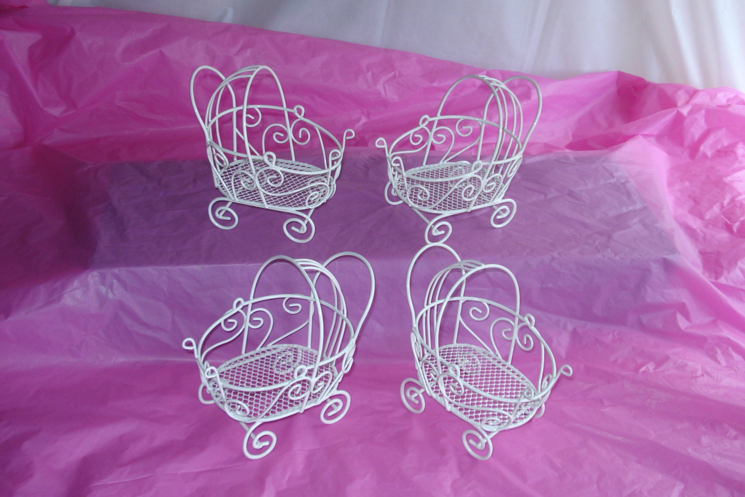 4 vintage mini wire baby carriages set of 4 great for for Baby carriage decoration