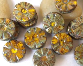 Czech Flower Beads Czech Picasso Glass Beads Wheel Chunky Bead 12 mm 4 pcs