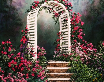 Archway with Flowers print from original oil painting, double matted, 16 x 20