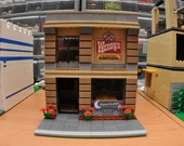City Fast Food Hamburger Restaurant Open Late Model built with Real LEGO (R) Bricks