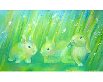 Brothers are rabbit....8 x 11.5  Print of Original oil.
