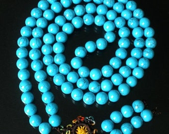 Tibet Blue Vein Stone 10mm 108 Beads Beaded Buddhism Buddha Prayer Mala Necklace