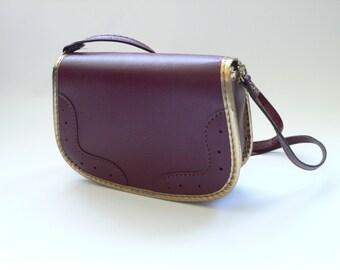 Vintage Children Child's Handbag Purse Bordeaux with Gold trim 1970's - 1