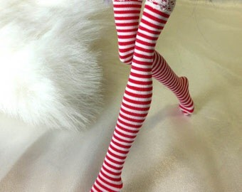 Dolls stockings for Monster high doll   White and red stripes   MH043