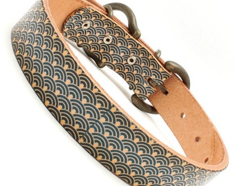 "Japanese 1inch width leather large dog collar Oriental Wave design mean ""Peace"" A2143"