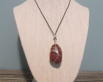 Handmade necklace - red jasper stone