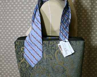 Vintage Tie Collection Bag, Handmade Fabric Handbag, Fabric Handmade Purse