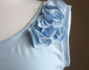 Cotton Dress Womens sleeveless empire waist dress tank dress Cascading Petals bridesmaid dress embellished Flower Made to Order