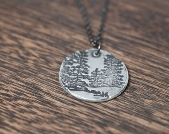 Tree Necklace - tree line - Evergreen Tree Necklace - Tree Pendant - Sterling Silver Pine Necklace - Winter Trees - Winter Tree Necklace