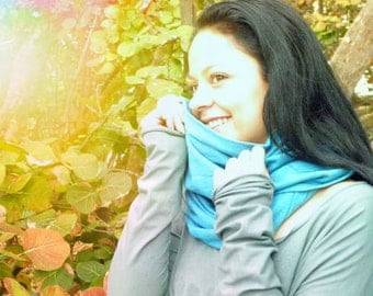 The Infinity Scarf x 3 in Organic hemp jersey. Dyed to order.