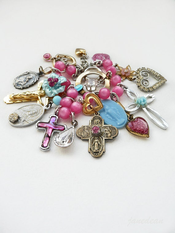 Pastel Catholic Charm Bracelet - vintage charms on rosary chain